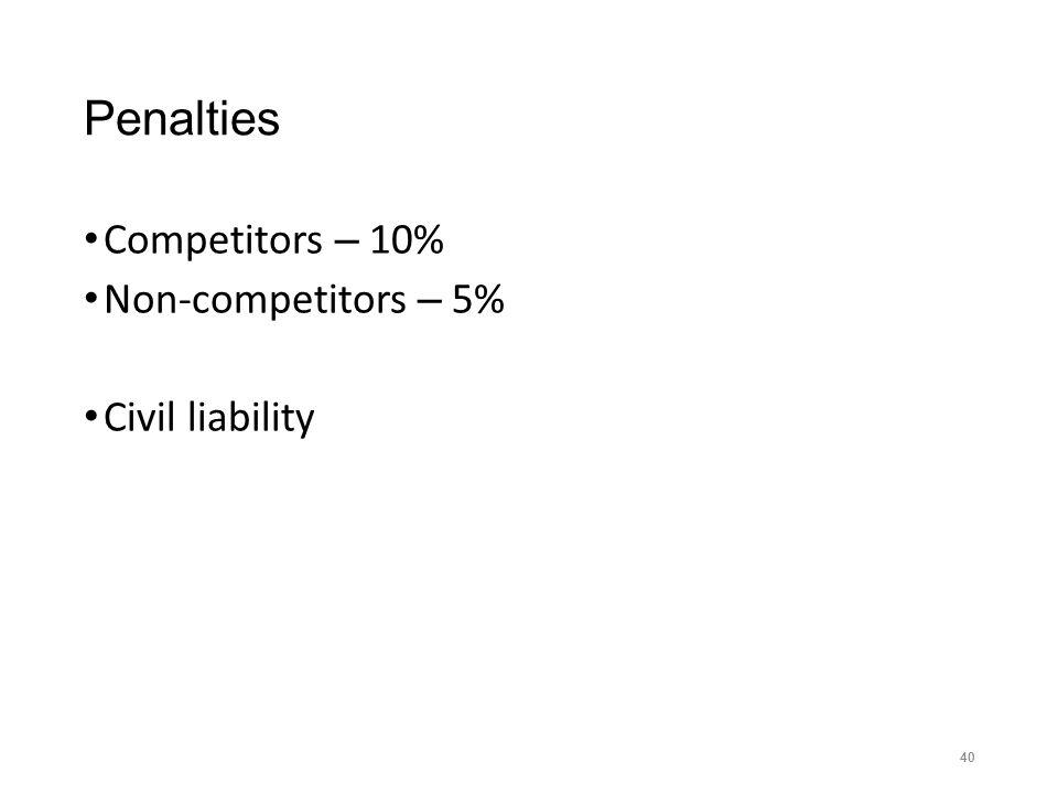 Penalties Competitors – 10% Non-competitors – 5% Civil liability 40