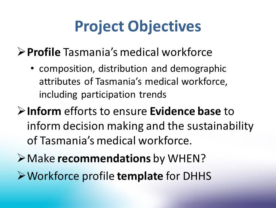 Tasmanian Health Organisations Total registered medical practitioners Total Medical Workforce: 246 Total Medical Workforce: 537 Total Medical Workforce: 1169