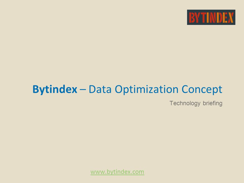 Bytindex – Data Optimization Concept Technology briefing www.bytindex.com