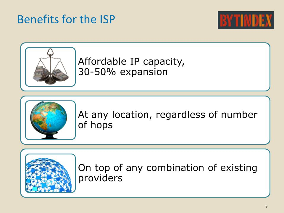 Benefits for the ISP Affordable IP capacity, 30-50% expansion At any location, regardless of number of hops On top of any combination of existing prov