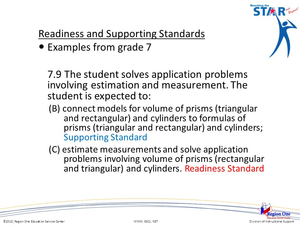©2010, Region One Education Service Center WWW. ESC1. NETDivision of Instructional Support Readiness and Supporting Standards Examples from grade 7 7.