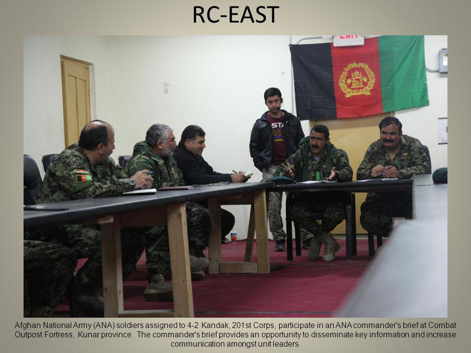 RC-EAST Afghan National Army (ANA) soldiers assigned to 4-2 Kandak, 201st Corps, participate in an ANA commander s brief at Combat Outpost Fortress, Kunar province.