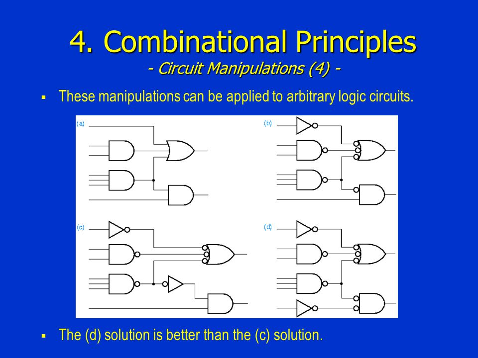 4. Combinational Principles - Circuit Manipulations (4) -  These manipulations can be applied to arbitrary logic circuits.  The (d) solution is bett