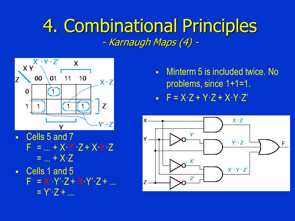4. Combinational Principles - Karnaugh Maps (4) -  Cells 5 and 7 F=...