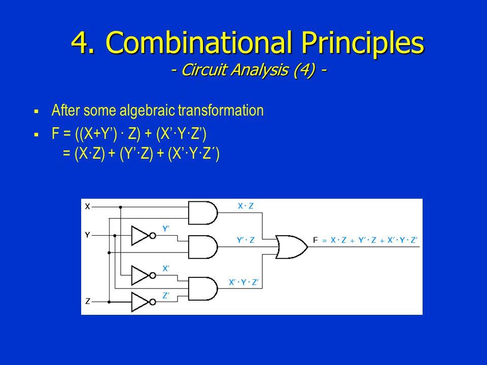 4. Combinational Principles - Circuit Analysis (4) -  After some algebraic transformation  F = ((X+Y') · Z) + (X'·Y·Z') = (X·Z) + (Y'·Z) + (X'·Y·Z´)