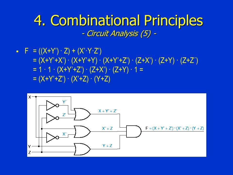 4. Combinational Principles - Circuit Analysis (5) -  F= ((X+Y') · Z) + (X'·Y·Z') = (X+Y'+X') · (X+Y'+Y) · (X+Y'+Z') · (Z+X') · (Z+Y) · (Z+Z´) = 1 ·