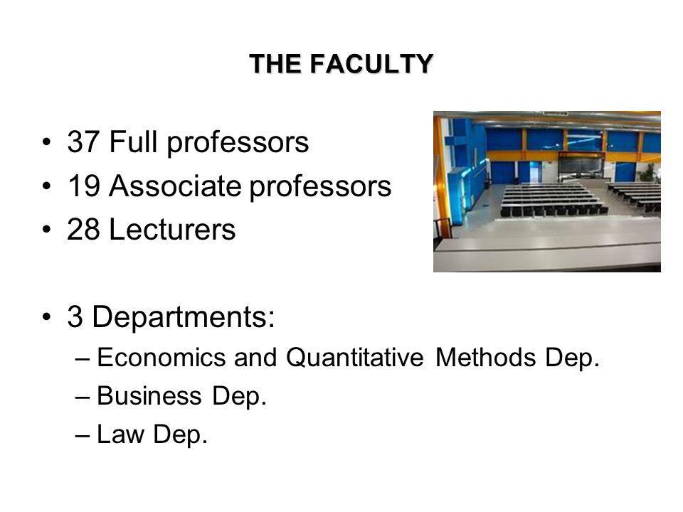 THE FACULTY 37 Full professors 19 Associate professors 28 Lecturers 3 Departments: –Economics and Quantitative Methods Dep. –Business Dep. –Law Dep.