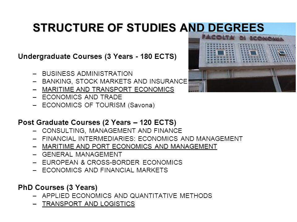 Undergraduate Courses (3 Years - 180 ECTS) –BUSINESS ADMINISTRATION –BANKING, STOCK MARKETS AND INSURANCE –MARITIME AND TRANSPORT ECONOMICS –ECONOMICS