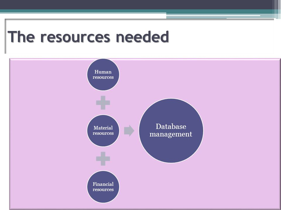 The resources needed Human resources Material resources Financial resources Database management