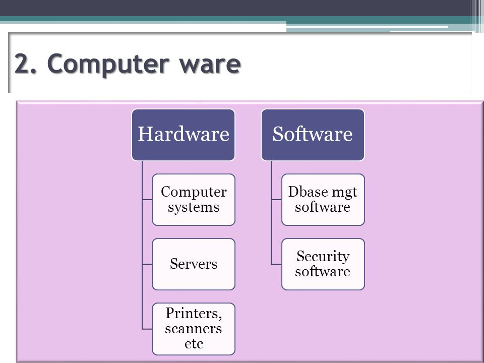 2. Computer ware Hardware Computer systems Servers Printers, scanners etc Software Dbase mgt software Security software