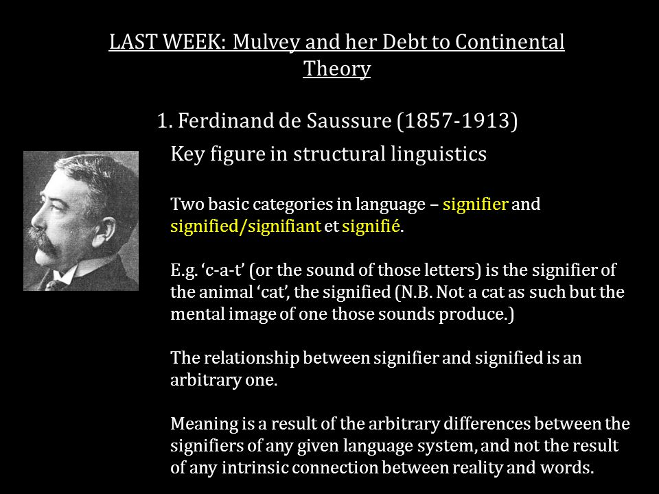 Ferdinand de Saussure Saussure: Course in General Linguistics (1916) LAST WEEK: Mulvey and her Debt to Continental Theory 1.
