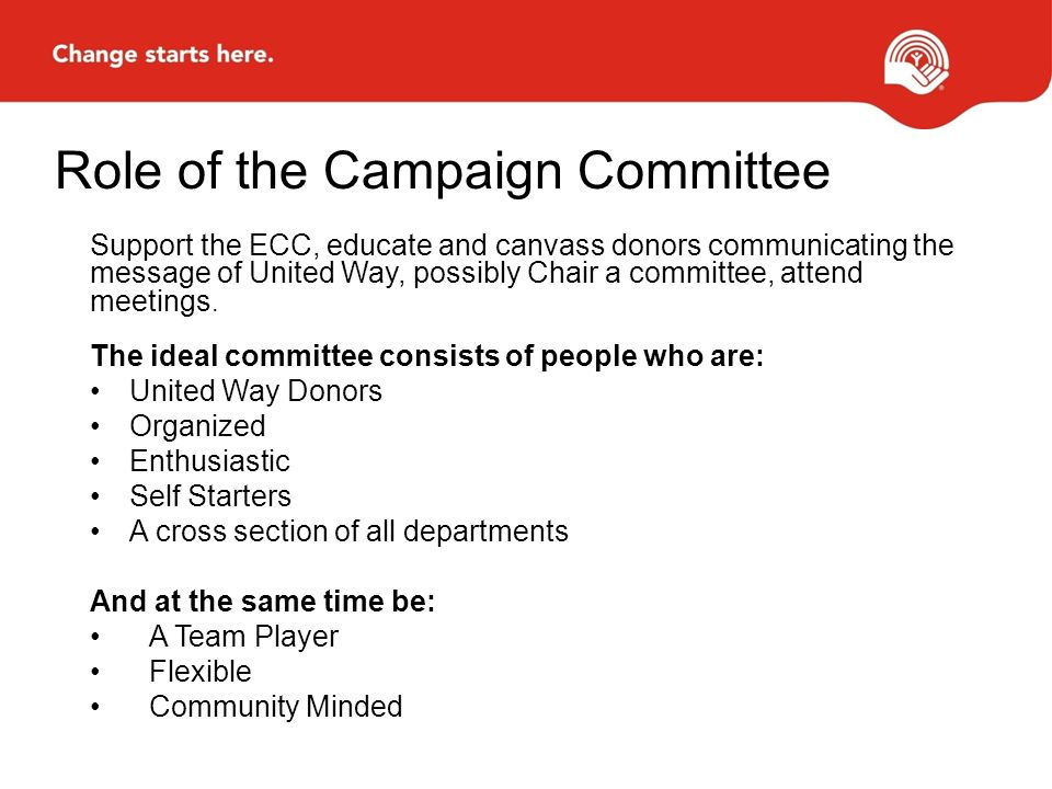 Role of the Campaign Committee Support the ECC, educate and canvass donors communicating the message of United Way, possibly Chair a committee, attend meetings.