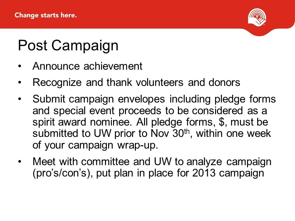Post Campaign Announce achievement Recognize and thank volunteers and donors Submit campaign envelopes including pledge forms and special event proceeds to be considered as a spirit award nominee.
