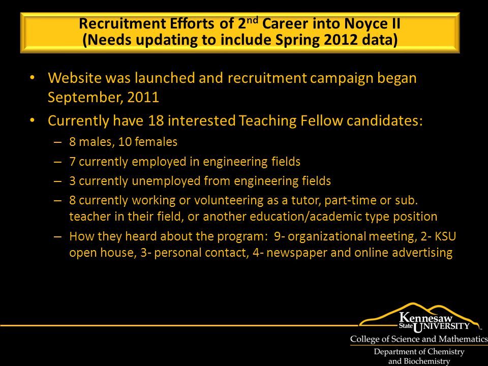 Website was launched and recruitment campaign began September, 2011 Currently have 18 interested Teaching Fellow candidates: – 8 males, 10 females – 7 currently employed in engineering fields – 3 currently unemployed from engineering fields – 8 currently working or volunteering as a tutor, part-time or sub.