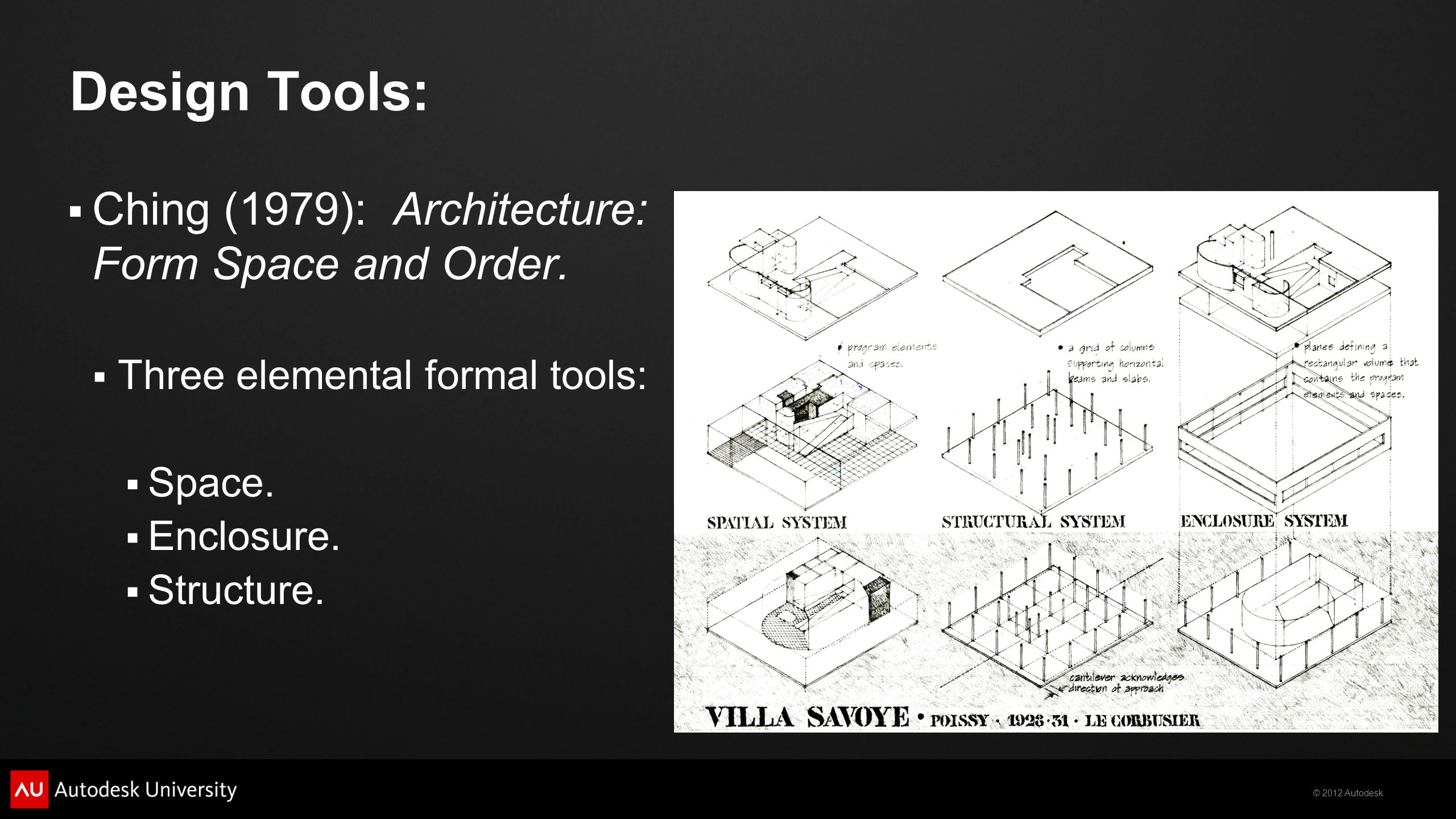 © 2012 Autodesk Design Tools:  Ching (1979): Architecture: Form Space and Order.
