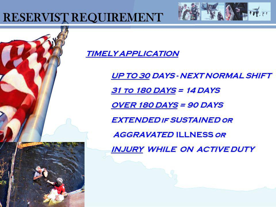RESERVIST REQUIREMENT TIMELY APPLICATION UP TO 30 DAYS - NEXT NORMAL SHIFT 31 to 180 DAYS = 14 DAYS OVER 180 DAYS = 90 DAYS EXTENDED if SUSTAINED or AGGRAVATED ILLNESS or INJURY WHILE ON ACTIVE DUTY