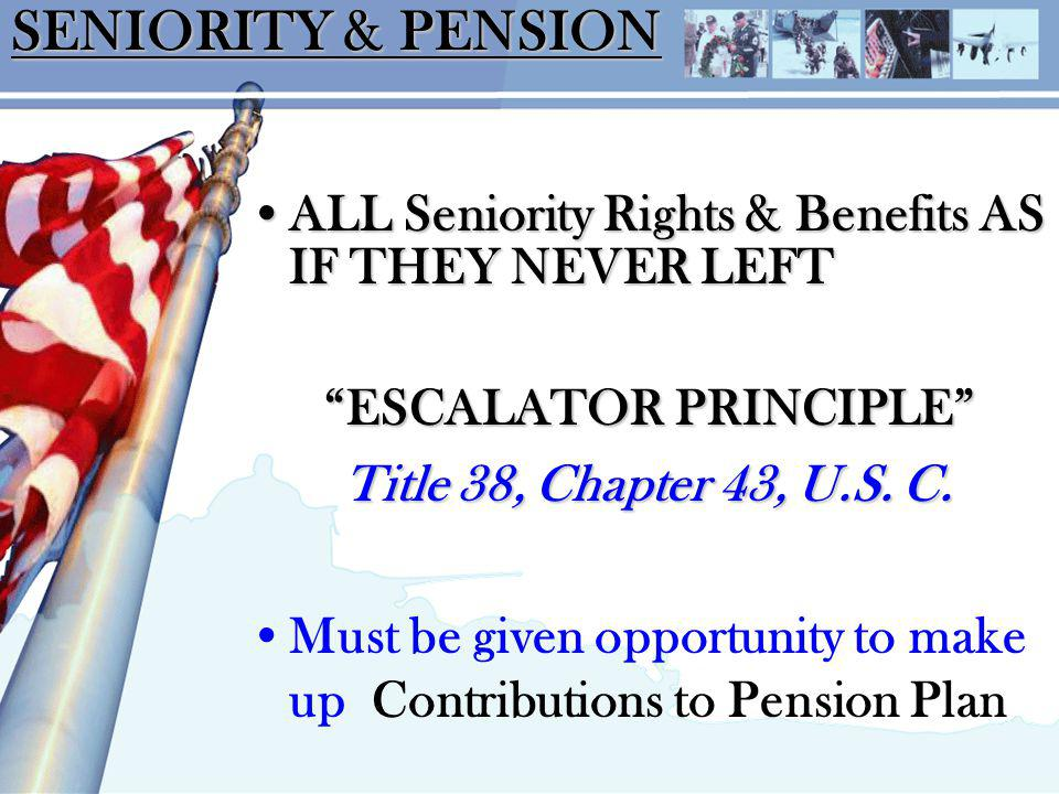 SENIORITY & PENSION ALL Seniority Rights & Benefits AS IF THEY NEVER LEFTALL Seniority Rights & Benefits AS IF THEY NEVER LEFT ESCALATOR PRINCIPLE Title 38, Chapter 43, U.S.