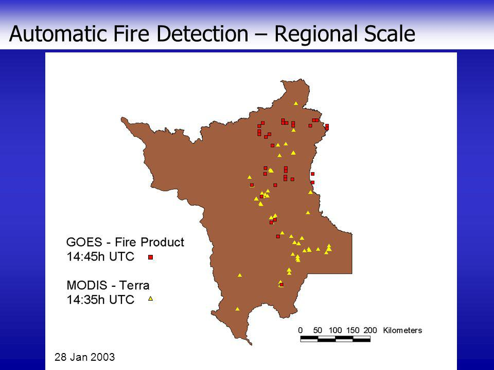 Automatic Fire Detection – Continental Scale 28 Jan 2003