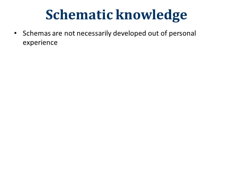 Schematic knowledge Schemas are not necessarily developed out of personal experience