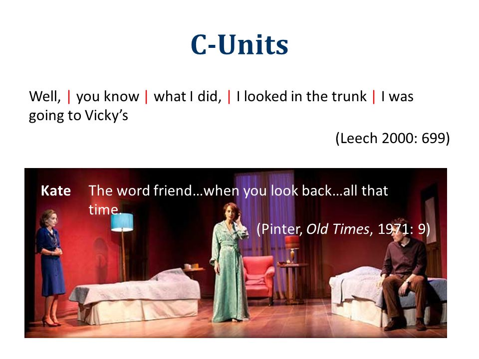 C-Units Well, | you know | what I did, | I looked in the trunk | I was going to Vicky's (Leech 2000: 699) KateThe word friend…when you look back…all t