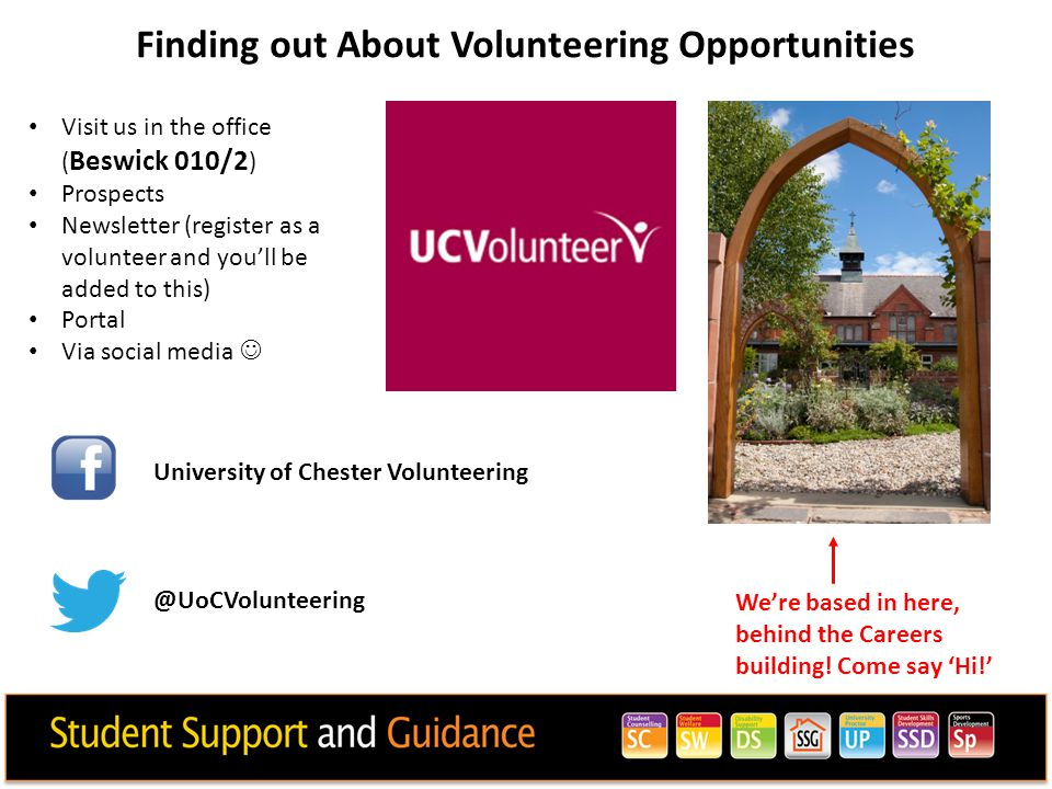 Finding out About Volunteering Opportunities Visit us in the office ( Beswick 010/2 ) Prospects Newsletter (register as a volunteer and you'll be adde