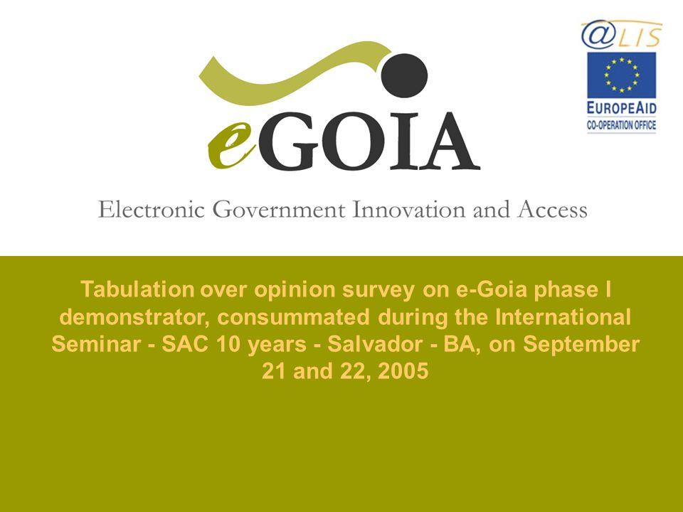 Tabulation over opinion survey on e-Goia phase I demonstrator, consummated during the International Seminar - SAC 10 years - Salvador - BA, on Septemb