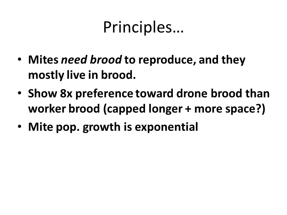 Principles… Mites need brood to reproduce, and they mostly live in brood.