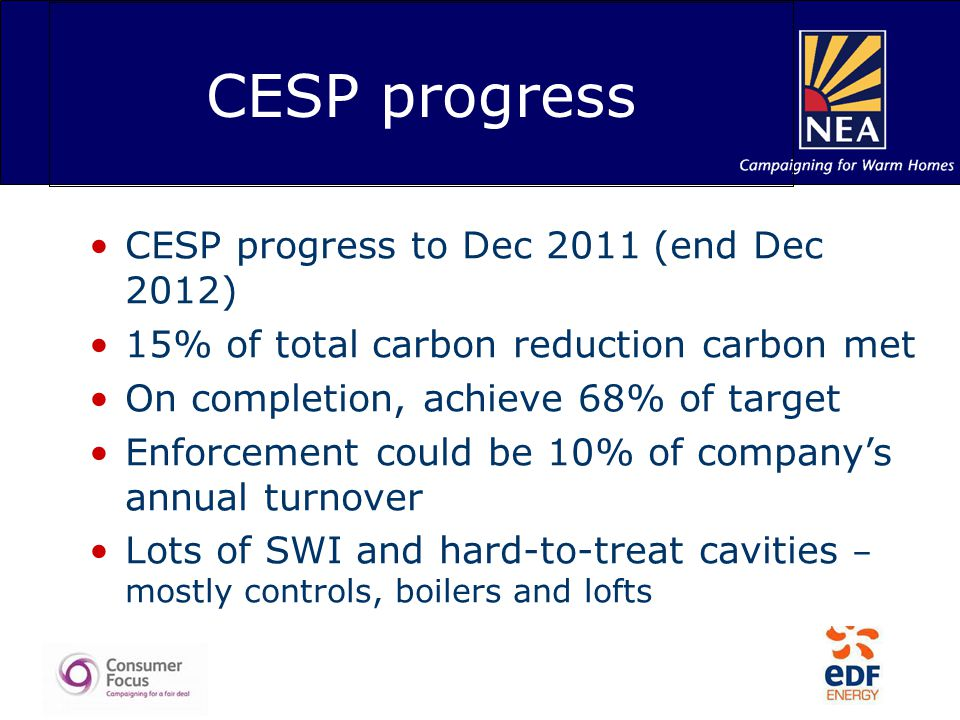 CESP progress CESP progress to Dec 2011 (end Dec 2012) 15% of total carbon reduction carbon met On completion, achieve 68% of target Enforcement could be 10% of company's annual turnover Lots of SWI and hard-to-treat cavities – mostly controls, boilers and lofts
