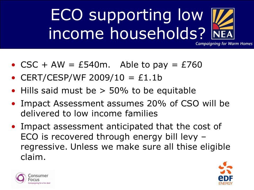 ECO supporting low income households? CSC + AW = £540m. Able to pay = £760 CERT/CESP/WF 2009/10 = £1.1b Hills said must be > 50% to be equitable Impac