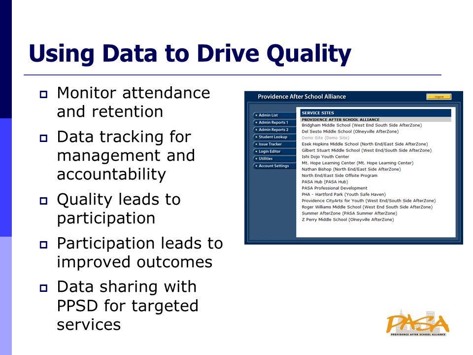  Monitor attendance and retention  Data tracking for management and accountability  Quality leads to participation  Participation leads to improved outcomes  Data sharing with PPSD for targeted services Using Data to Drive Quality