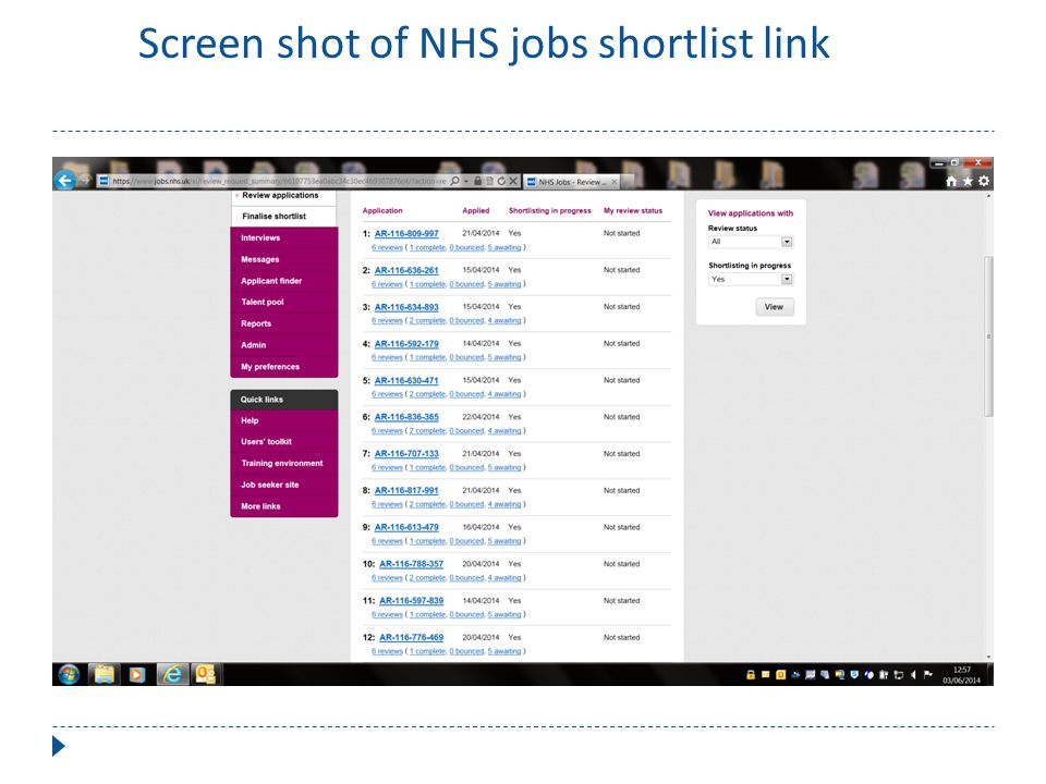 Scr Screen shot of NHS jobs shortlist link of NHS jobs