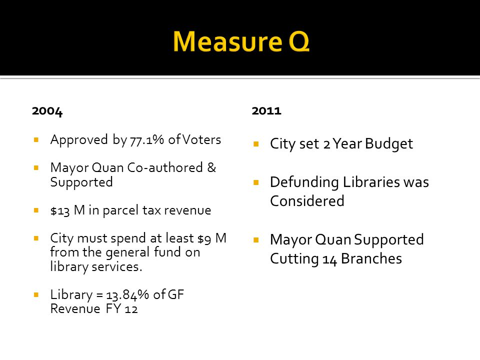  City set 2 Year Budget  Defunding Libraries was Considered  Mayor Quan Supported Cutting 14 Branches 2011  Approved by 77.1% of Voters  Mayor Quan Co-authored & Supported  $13 M in parcel tax revenue  City must spend at least $9 M from the general fund on library services.