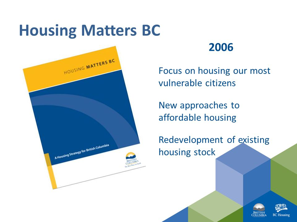 2006 Focus on housing our most vulnerable citizens New approaches to affordable housing Redevelopment of existing housing stock Housing Matters BC