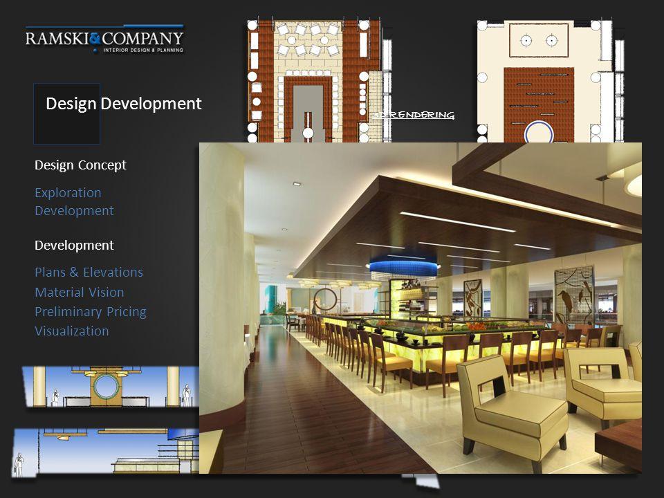 Design Development Design Concept Development Exploration Development Plans & Elevations FLOOR PLAN CEILING PLAN ELEVATIONS 3D RENDERING Visualization Material Vision Preliminary Pricing