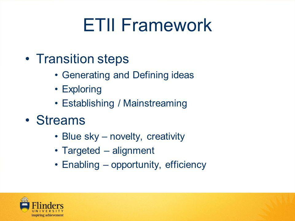 ETII Framework Transition steps Generating and Defining ideas Exploring Establishing / Mainstreaming Streams Blue sky – novelty, creativity Targeted – alignment Enabling – opportunity, efficiency