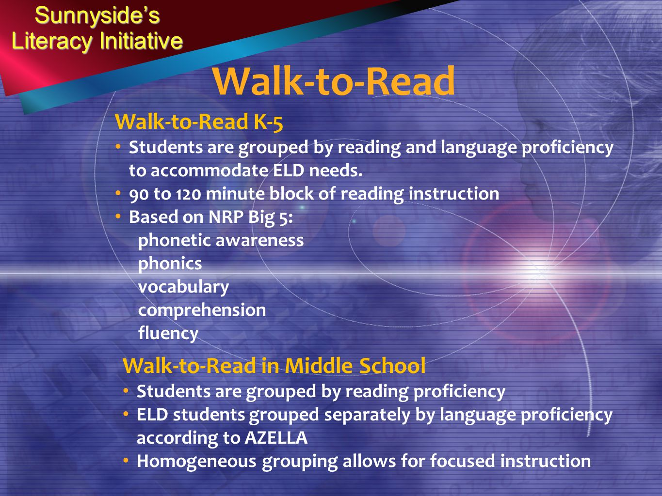 Walk-to-Read Sunnyside's Literacy Initiative Walk-to-Read K-5 Students are grouped by reading and language proficiency to accommodate ELD needs.