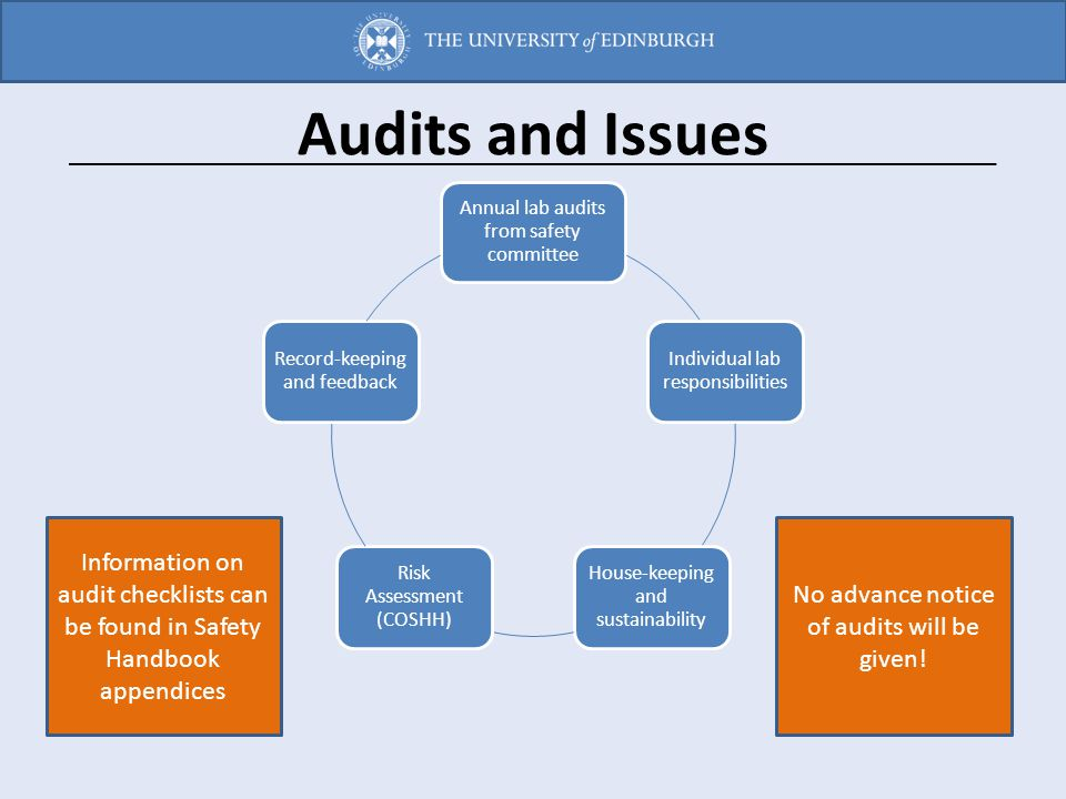 Audits and Issues Annual lab audits from safety committee Individual lab responsibilities House-keeping and sustainability Risk Assessment (COSHH) Rec