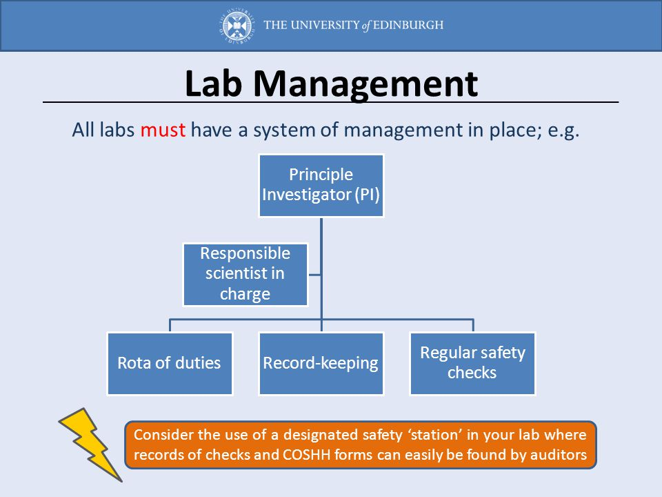 Lab Management All labs must have a system of management in place; e.g. Principle Investigator (PI) Rota of dutiesRecord-keeping Regular safety checks