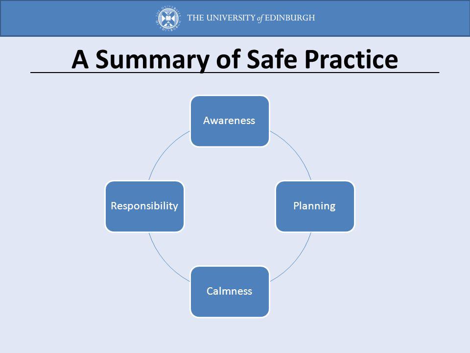 A Summary of Safe Practice AwarenessPlanningCalmnessResponsibility