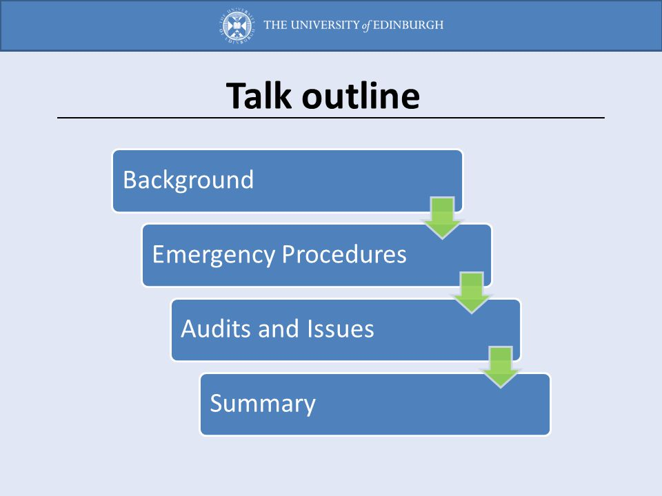 BackgroundEmergency ProceduresAudits and IssuesSummary Talk outline