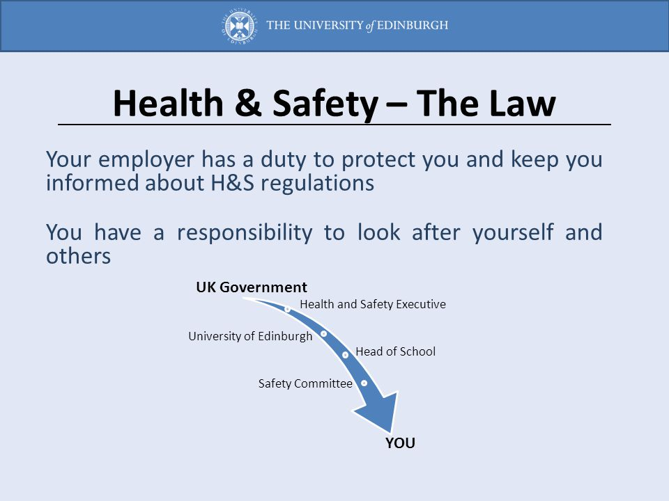 Health & Safety – The Law Your employer has a duty to protect you and keep you informed about H&S regulations You have a responsibility to look after