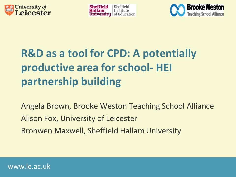A TS perspective: working with university partners In-house training and development BWTSA R&D Projects University of Derby University of Northampton University of Leicester S2S support ITT provision NQT programme T-Research Great CPD / Great Pedagogy – lesson study Closing the Gap