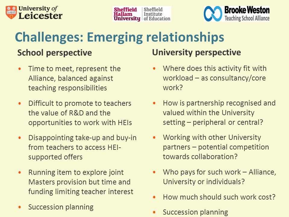 Challenges: Emerging relationships School perspective Time to meet, represent the Alliance, balanced against teaching responsibilities Difficult to pr