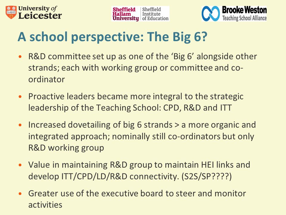 A school perspective: The Big 6? R&D committee set up as one of the 'Big 6' alongside other strands; each with working group or committee and co- ordi