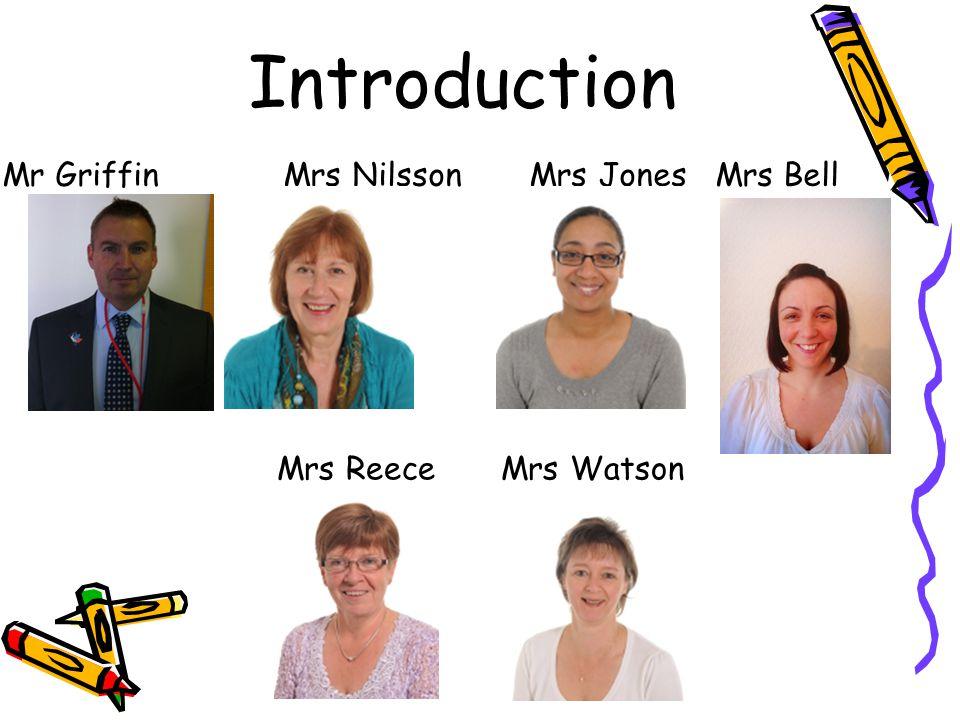 Introduction Mr Griffin Mrs Nilsson Mrs Jones Mrs Bell Mrs Reece Mrs Watson