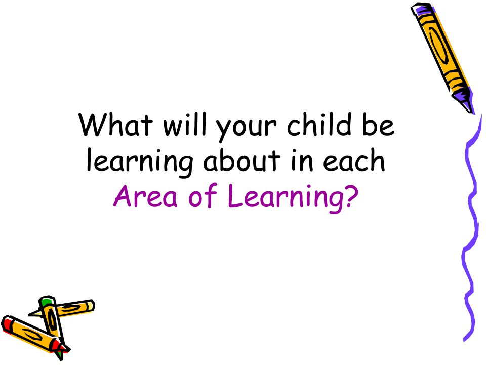 What will your child be learning about in each Area of Learning?