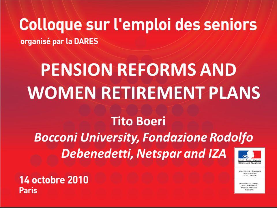 PENSION REFORMS AND WOMEN RETIREMENT PLANS Tito Boeri Bocconi University, Fondazione Rodolfo Debenedetti, Netspar and IZA