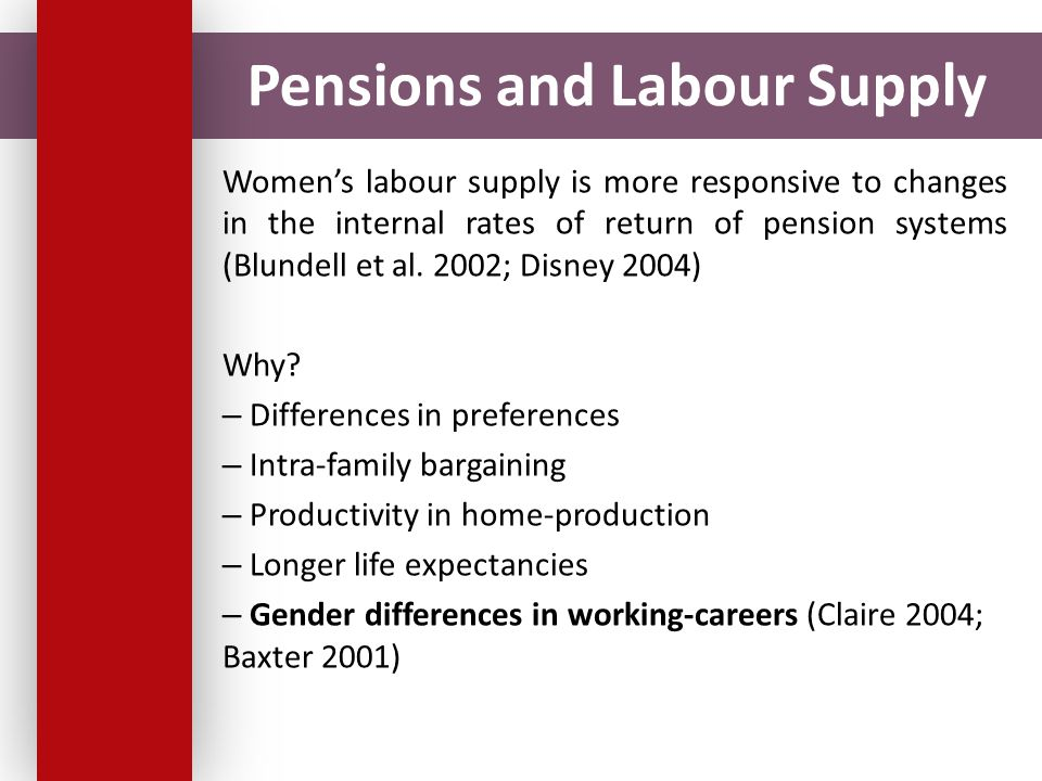 Pensions and Labour Supply Women's labour supply is more responsive to changes in the internal rates of return of pension systems (Blundell et al.