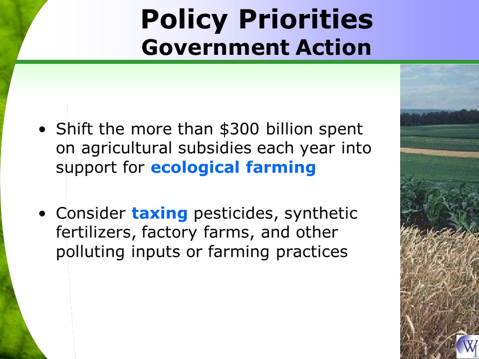 Policy Priorities Government Action Shift the more than $300 billion spent on agricultural subsidies each year into support for ecological farming Consider taxing pesticides, synthetic fertilizers, factory farms, and other polluting inputs or farming practices