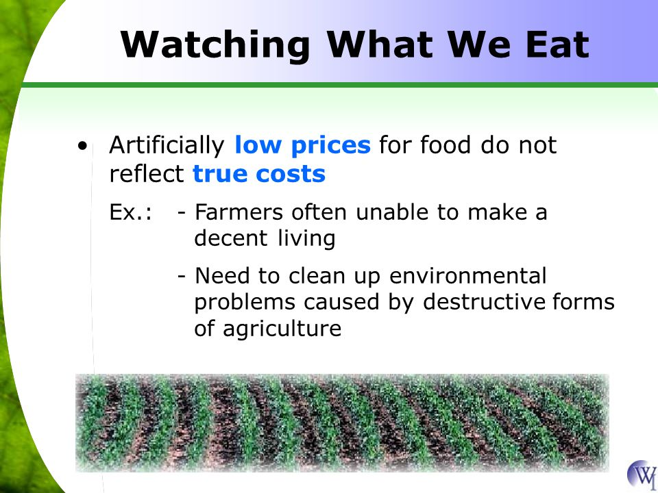 Watching What We Eat Artificially low prices for food do not reflect true costs Ex.:- Farmers often unable to make a decent living - Need to clean up environmental problems caused by destructive forms of agriculture